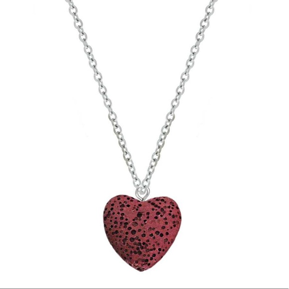 Jewelry - Lava Stone Red Heart Aromatherapy Pendant Necklace